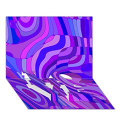 Retro Abstract Blue Pink LOVE Bottom 3D Greeting Card (7x5)