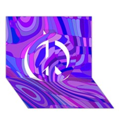 Retro Abstract Blue Pink Peace Sign 3D Greeting Card (7x5)