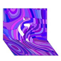 Retro Abstract Blue Pink Ribbon 3D Greeting Card (7x5)
