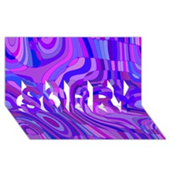 Retro Abstract Blue Pink SORRY 3D Greeting Card (8x4)