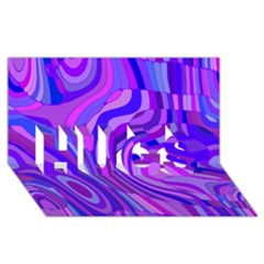 Retro Abstract Blue Pink HUGS 3D Greeting Card (8x4)