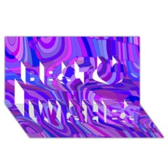 Retro Abstract Blue Pink Best Wish 3d Greeting Card (8x4)
