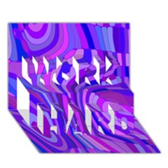 Retro Abstract Blue Pink WORK HARD 3D Greeting Card (7x5)