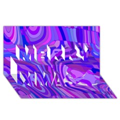 Retro Abstract Blue Pink Merry Xmas 3d Greeting Card (8x4)