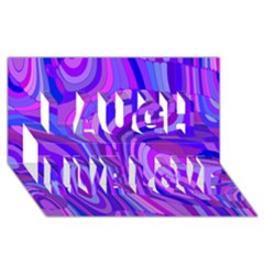 Retro Abstract Blue Pink Laugh Live Love 3d Greeting Card (8x4)