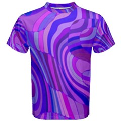 Retro Abstract Blue Pink Men s Cotton Tees