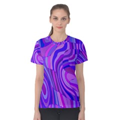 Retro Abstract Blue Pink Women s Cotton Tees