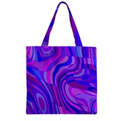 Retro Abstract Blue Pink Zipper Grocery Tote Bags