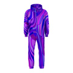 Retro Abstract Blue Pink Hooded Jumpsuit (Kids)