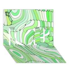 Retro Abstract Green I Love You 3D Greeting Card (7x5)