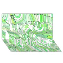 Retro Abstract Green Best Friends 3D Greeting Card (8x4)