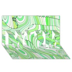 Retro Abstract Green MOM 3D Greeting Card (8x4)