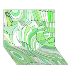 Retro Abstract Green Heart 3d Greeting Card (7x5)