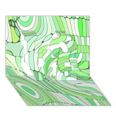 Retro Abstract Green Love 3d Greeting Card (7x5)