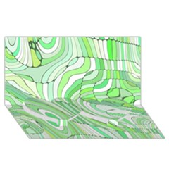Retro Abstract Green Twin Heart Bottom 3D Greeting Card (8x4)