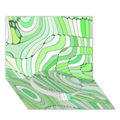 Retro Abstract Green Circle Bottom 3D Greeting Card (7x5)