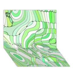 Retro Abstract Green Love Bottom 3d Greeting Card (7x5)