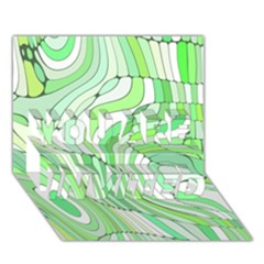 Retro Abstract Green You Are Invited 3d Greeting Card (7x5)