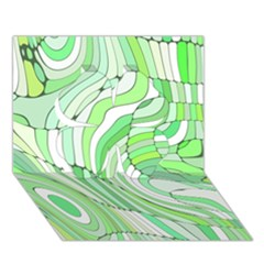 Retro Abstract Green Clover 3D Greeting Card (7x5)