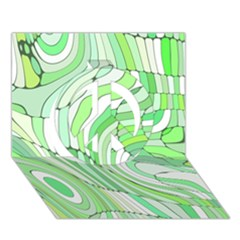 Retro Abstract Green Peace Sign 3D Greeting Card (7x5)