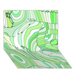 Retro Abstract Green Circle 3d Greeting Card (7x5)