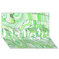 Retro Abstract Green Believe 3d Greeting Card (8x4)