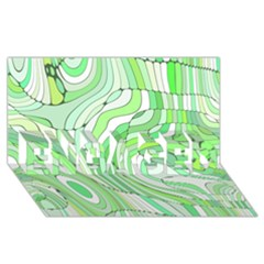 Retro Abstract Green ENGAGED 3D Greeting Card (8x4)