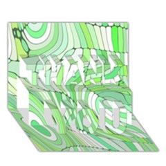 Retro Abstract Green Thank You 3d Greeting Card (7x5)