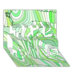 Retro Abstract Green TAKE CARE 3D Greeting Card (7x5)