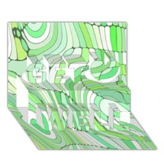 Retro Abstract Green Get Well 3D Greeting Card (7x5)