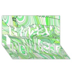 Retro Abstract Green Happy New Year 3D Greeting Card (8x4)