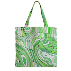 Retro Abstract Green Zipper Grocery Tote Bags