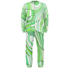 Retro Abstract Green OnePiece Jumpsuit (Men)