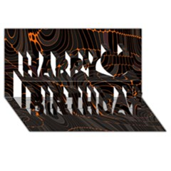 Retro Abstract Orange Black Happy Birthday 3D Greeting Card (8x4)