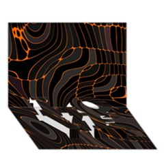 Retro Abstract Orange Black Love Bottom 3d Greeting Card (7x5)