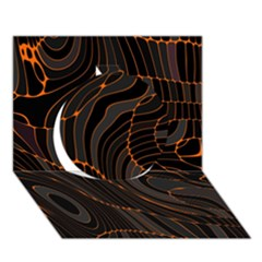 Retro Abstract Orange Black Circle 3D Greeting Card (7x5)