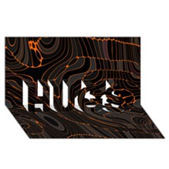 Retro Abstract Orange Black Hugs 3d Greeting Card (8x4)