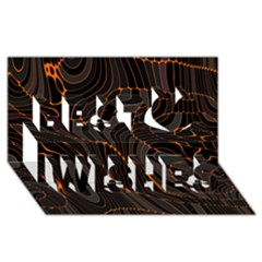 Retro Abstract Orange Black Best Wish 3D Greeting Card (8x4)