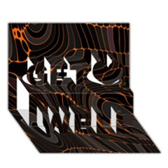 Retro Abstract Orange Black Get Well 3d Greeting Card (7x5)