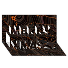 Retro Abstract Orange Black Merry Xmas 3d Greeting Card (8x4)