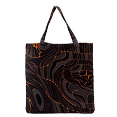 Retro Abstract Orange Black Grocery Tote Bags