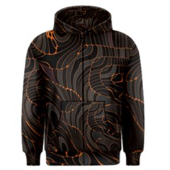 Retro Abstract Orange Black Men s Zipper Hoodies