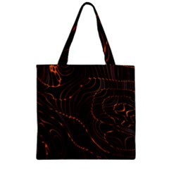 Retro Abstract Orange Black Zipper Grocery Tote Bags
