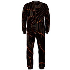 Retro Abstract Orange Black Onepiece Jumpsuit (men)
