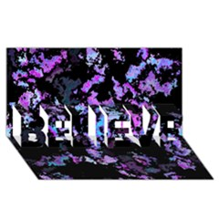 Splatter Blue Pink BELIEVE 3D Greeting Card (8x4)