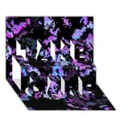 Splatter Blue Pink TAKE CARE 3D Greeting Card (7x5)