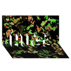 Splatter Red Green HUGS 3D Greeting Card (8x4)