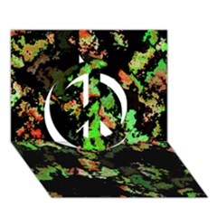 Splatter Red Green Peace Sign 3d Greeting Card (7x5)