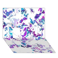 Splatter White Lilac I Love You 3d Greeting Card (7x5)