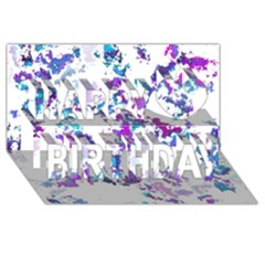Splatter White Lilac Happy Birthday 3d Greeting Card (8x4)